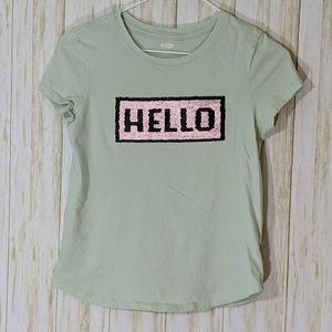5/$25 Old Navy graphics sequined t-shirt size L